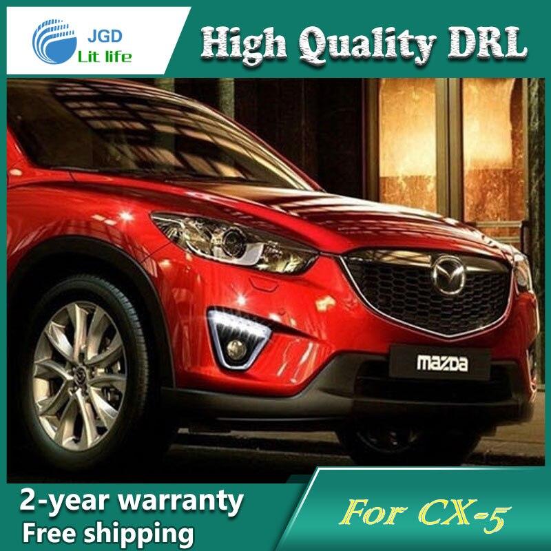 Free shipping !12V 6000k LED DRL Daytime running light case for Mazda CX-5 cx5 fog lamp frame Fog light Car styling<br>
