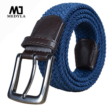 Italian Design Mens Leather Braided Elastic Belt Stretch Cross Buckle Canvas Belts Army Tactical Waistband Male Equipment Strap(China)