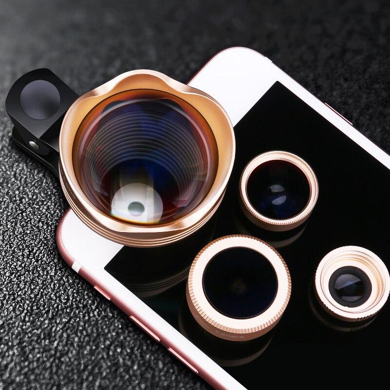 4in1 Schott Glas Fisheye font b Lenses b font Wide Angle Macro 3X Telephoto font b