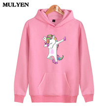 MULYEN New Fashion Harajuku Unicorn Print Hooded Sweatshirt Women Hoodies Kawaii Sweet Pink Hoodie Hip Hop Moletom Feminino(China)