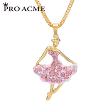 Pro Acme Beautiful Ballet Ballerina Dancer Girl Long Necklaces & Pendants Women Crystal Pendant Necklace Charm Jewelry PN0542(China)