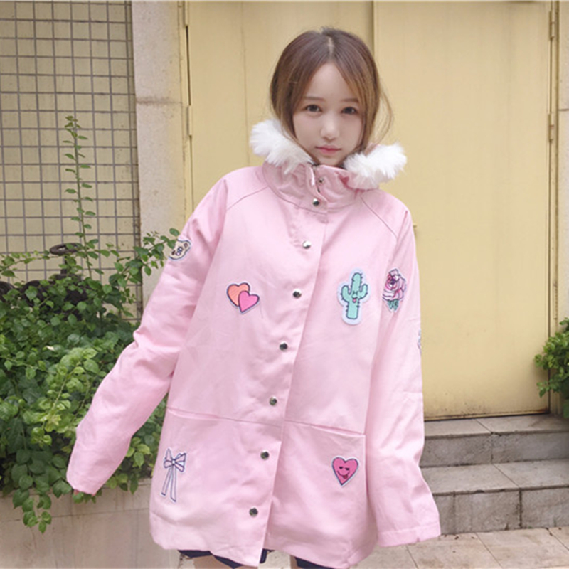 kawaii women coat  2017 Autumn and winter fashion womens Japanese cartoon patch kawaii hooded  lambs cardigan women coat Одежда и ак�е��уары<br><br><br>Aliexpress
