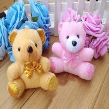 10 pcs/lot hot sale 11cm mini plush bear toys (pink, brown), cheap wholesale sutffed bear toys, free shipping