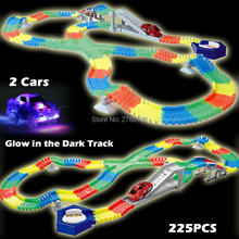 225PCS Slot Glow in the Dark Glow race track Create A Road Bend Flexible Tracks with 2PCS LED Light Up Cars Educational Toys(China)