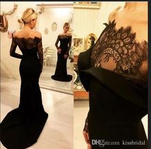 Hot Sale 2017 Black Lace Evening Gowns with Long Sleeves Arabic Dubai Women Wear Curved Off-Shoulder Mermaid Formal Prom