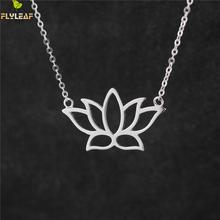 Flyleaf 925 Sterling Silver Buddhist Elements Lotus Flower Necklaces & Pendants For Women Elegant Lady Sterling-silver-jewelry(China)
