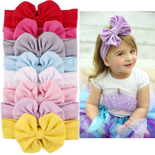 9 Colors Girls Kids Cotton Bow Hairband Headband Stretch Turban Knot Head Wrap(China)