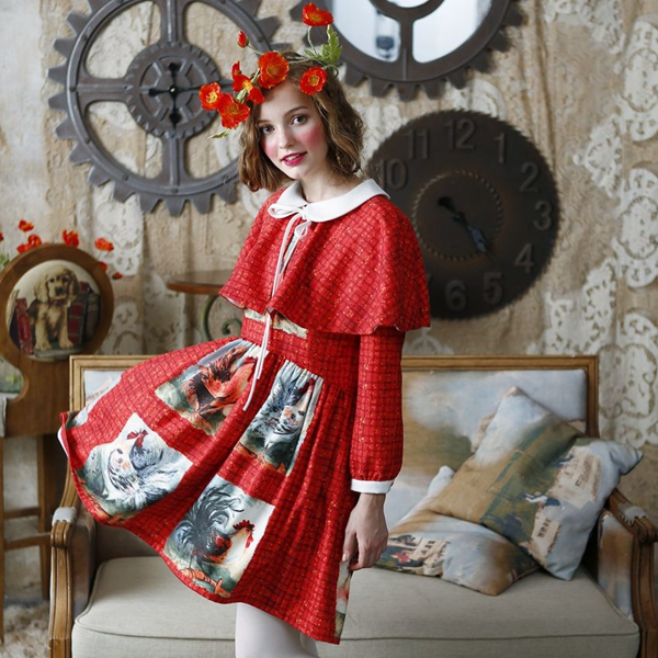AIGYPTOS Lianer Autumn Original Design Women Novelty Red Vintage Big Cock Print Cloak Style Peter Pan Collar Slim Cute Dress(China (Mainland))