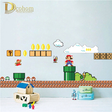 Removable Cartoon Super Mario Bros Wall Stickers For Kids Rooms Bedroom Home Decor Vinyl Poster Wallpaper Sticker Mural