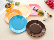 1Pcs Colorful Tableware Saucer Flat Plate Snack Seeds Food-grade Plastic Snack Dish Kitchen Supplies Dishes Plates 5ZCF278(China)