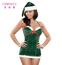 IDARMEE Women Adult Christmas Mrs Miss Santa Fancy Dress Xmas Outfit Ladies Sexy Christmas Costume Free Shipping S6114