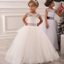 2017 Flower Girl Dresses Vintage Jewel Sash Lace Net Baby Girl Birthday Party Princess Dresses Children Girl Party Dresses 032