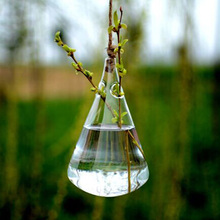 Wholesale Clear Water-drop Glass Hanging Vase Bottle for Terrarium Plant Flower Wedding Party Home Decor Handmade Birthday Gift