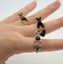 Punk 1 Piece Vintage 3D Miniature Schnauzer Puppy Animal Ring Men Jewelry Anillos Boho Chic Dog Rings For Women Anel Feminino