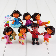 8pcs/lot American Cartoon Dora Figure Toy Dora With Backpack Boots Go Diego Mini Model Doll for Children