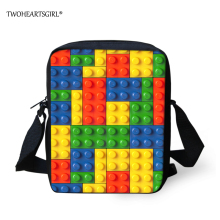 TWOHEARTSGIRL Color Blocks Printed Teen Boys Messenger Bags Kid Small Crossbody Bag Canvas Easy Carry Men Small Bag for wallet