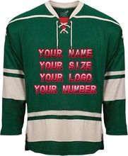 2017 Factory Custom Free Design Logo Wholesale ICE Hockey Jerseys Replica Home Away Mens Vintage Jersey Green White Red XXS-6XL(China)