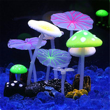 Real picture 2016 TankDecor aquarium fish artificial silicone vivid lotus leaf mushroom glowing effect(China)