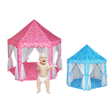 Six Large Angle Princess Castle Tulle Children Toy Play House Large Game Room Tent Puzzle Outdoor Tent Toy Pink Blue