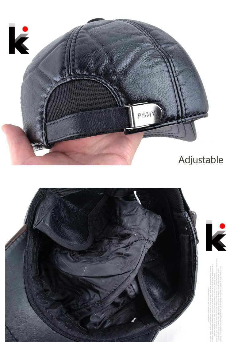 Mens winter leather cap warm patchwork dad hat baseball caps with ear flaps  russia adjustable snapback hats for men casquette. 1 2 3 4 5 6 7 a40957f07b03