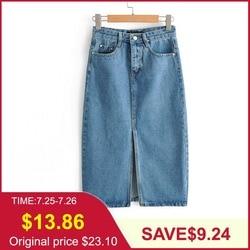 Tangada джинсовая юбка юбка карандаш юбка из денима голубая джинсовая юбка синяя джинсовая юбка юбка с разрезом юбка с высокой талией юбка с за...