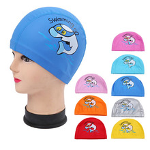 PU Fabric Cute Cartoon Animal Dolphin Kids Children Swimming Cap Waterproof Protect Ears Long Hair Boys Girls Swim Pool Caps Hat(China)