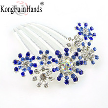 Free Shipping New amazing Rhinestone luxury Star Hair combs purple/blue/pink Crystal accessories birthday gifts Dance party(China)