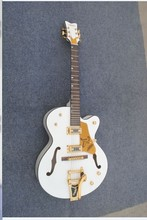 hot selling pearl white   inlay custom single cutway hollow body double f hole top back  bound  gretsch electric guitar