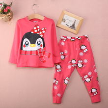2017 New Fashion Cute 2pcs Baby Girl Kids Red Tops Pants Sleepwear Nightwear Pajama Sets Outfits(China)
