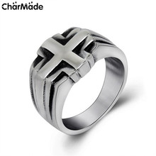 Top Quality Concise Cross Rings For Women Man's Goth Biker Christian Ring Stainless Steel Motorcycle Rings Jewelry Male R560