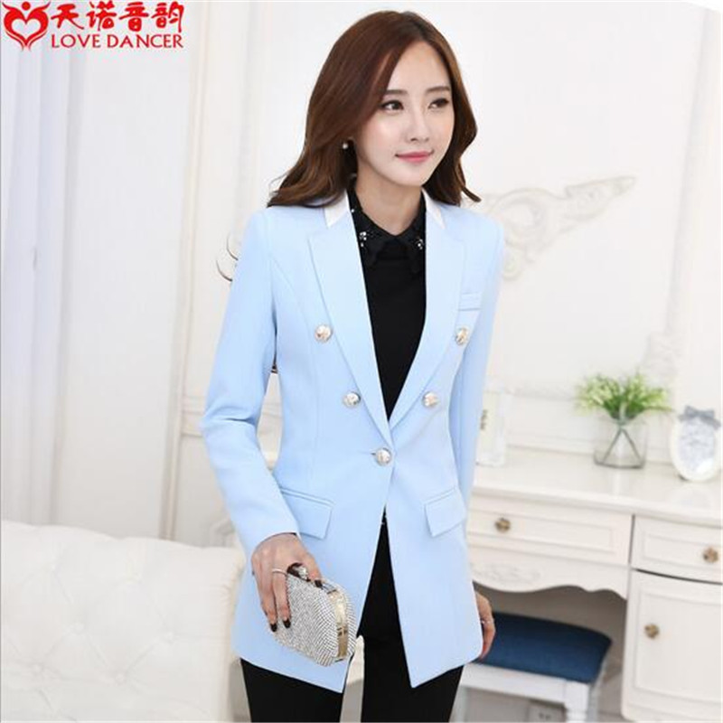 Online Get Cheap Slim Fit Single Button Casual Blue Suits Jacket ...