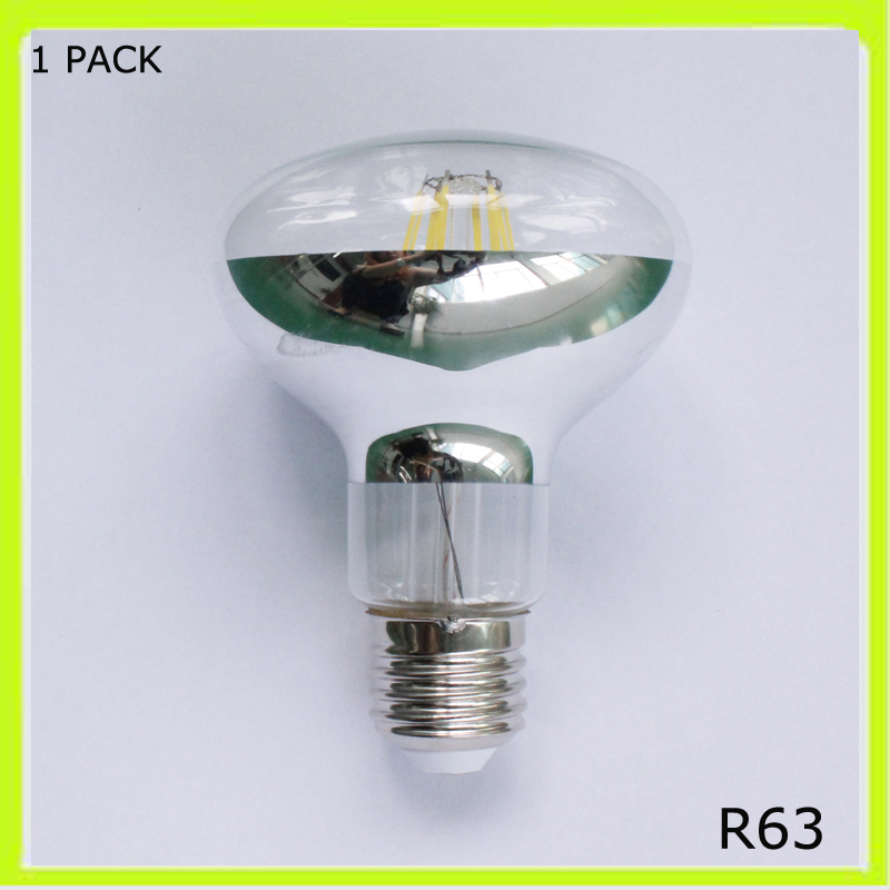 Top quality 6W or 8W led filament bulbs R63 led spot lights E27 screw mirror glass 120 degree beam angle 80CRI warm cold white(China)