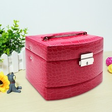 Embossed Crocodile Grain Faux Leather Jewelry Organizer- Fashion Cosmetic Box Hanging cases with Separate Compartments