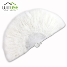 WITUSE 2017 New Arrival 10colors fluffy soft feather costume hand held folding fan Women Lady Party Theater Ball Dance Fans(China)