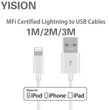 YISION Original 1m 2m 3m Mobile Phone Cables MFi Lightning to USB Cable for iPhone 7 6 6s 5 iPad 4 mini Air iOS 8 9 10