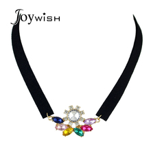 Gothic Boho Style Black peach skin Choker Necklace Colorful Crystal Flower Decoration Velvet Choker Necklace Women Accessories