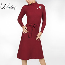 Weekeep Women Winter Pit Strip Vintage Sashes Bodycon Dress 2017 Sexy Elegant Warm Red Black Gray Long Sleeve Mid-Calf Dresses(China)