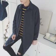 Spring 2017 men's Japanese shirt type dust coat shirt style restoring ancient ways of spring green grey/blue ash loose coat mail(China)