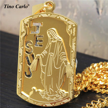 New Trend Standing Virgin Mary Piece Dog Tag Charm Necklace Stainless Steel Hollow Out Jesus Christian Hip Hop Pendant LQ1620