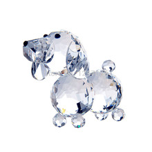 1.8inch  Clear Glass Crystal Dog Figurines Paperweight Crafts Collection Table Car Ornaments Souvenir Home Wedding Gifts Decor
