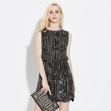 New Style Summer Dress Women O Neck Sleeveless Paillette Sequins Party Mini Dresses Femme Black White Vintage Dress Slim Vestido