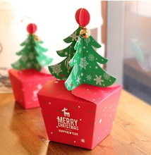 10pcs Merry Christmas Tree Bell Party Paper Favour Gift Candy Cupcake Bags Boxes 48817650