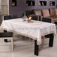 New Hot Elegant Lace Tablecloths Beige Jacquard Europe Lace Table Cloth Towel Overlays Home Decor Textiles 071-2