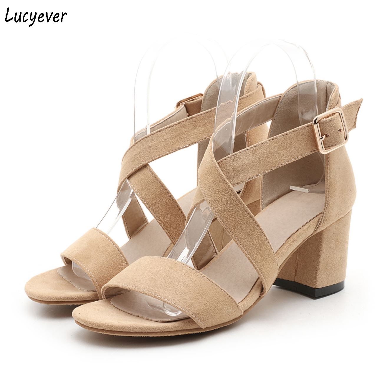 Lucyever Cross Strap Women Sandals 2017 Summer Gladiator Sandals Square High Heels Shoes Woman Buckles Nubuck Leather Pumps<br><br>Aliexpress