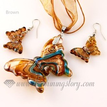 butterfly silver foil glitter blown lampwork murano glass pendants and earrings jewelry sets cheap fashion jewellery