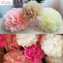 FENGRISE Diy Multi Colour 10pcs Paper Flowers Ball Wedding Home Birthday Party Car Decoration Tissue Paper Pom Poms(China)