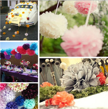"10pcs/ lot 4"" / 10cm Tissue Paper Pom Poms Flower Balls Wedding Party baby Shower Decoration pompoms pompom paper ball festival(China)"