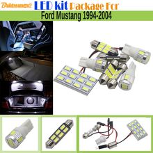 Buildreamen2 Car Interior LED Kit Package 5630 Chip LED Bulb White Auto Map Dome License Plate Light For Ford Mustang 1994-2004