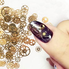 Wholesale price 1000pcs Ultra-thin Steam Parts Punk Mechanical Time Gears nail art metal slices Time Wheel gold nail art rivets