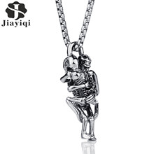 Jiayiqi Punk Skull Hug Pendants Necklace Men Boys Jewelry Stainless Steel Necklaces Fashion Cool Silver Color Chain Gifts